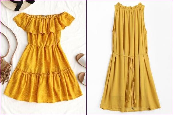 vestidos amarelos zaful